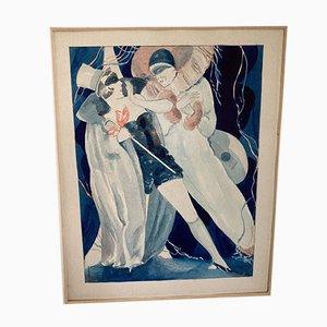 Art Deco Aquarell Karneval Spiele von Willi Jennrich