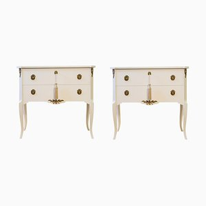 Louis XV Style Chests in 2-Tone White, 1950s, Set of 2