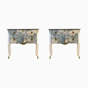 Louis XV Style Chests with Floral Pattern, 1950s, Set of 2