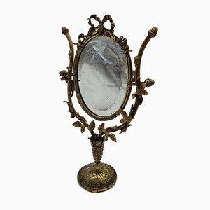 Antiker floraler Frisierspiegel aus Bronze mit emailliertem Finish aus Gold