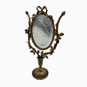 Antique Floral Bronze Vanity Mirror with Gold Enamel Finish