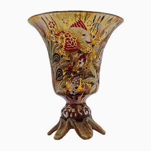 Antike Emaillierte Glasvase