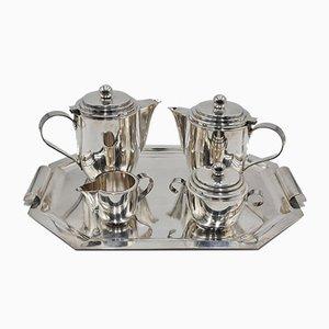 Versilbertes Vintage Tee- und Kaffeegeschirr auf Tablett von Roelandt, 5er Set