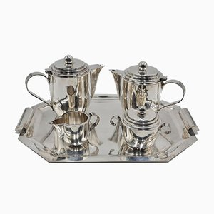 Vintage Silver-Plated Coffee & Tea Set on Serving Tray from Roelandt, Set of 5