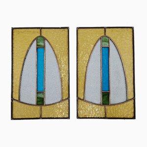 Art Deco Kirchenfenster aus gebeiztem Glas, 1920er, 2er Set
