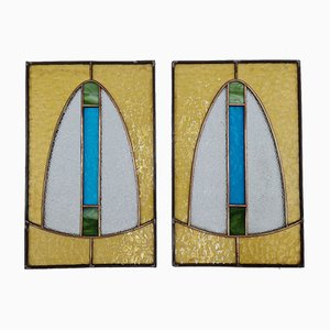 Art Deco Stained Glass Windows, 1920s, Set of 2