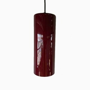 Mid-Century Danish Red Glass Cylinder Ceiling Lamp, 1960s