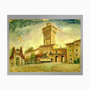 Lienzo de panel, Bramante Onofrio, paredes medievales Scorcio Vicenza, años 50