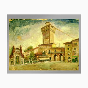 Toile Panneaux, Bramante Onofrio, Medieval Walls Scorcio Vicenza, 1950s