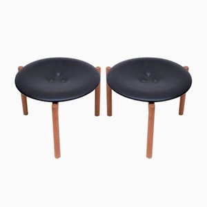 Danish Teak and Leather Stools, 1960s, Set of 2