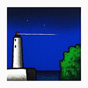 Tino Stefanoni: Lighthouse and Bushes, Color Silkscreen