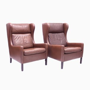 Leather Wingback Chairs from Stouby, 1970s, Set of 2