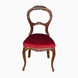Mid-Century Baroque Style Red Velvet Chair