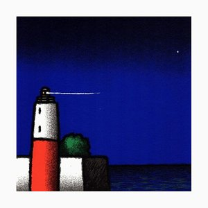 Ecran Tino Stefanoni: White and Red Lighthouse, Sérigraphie Couleur