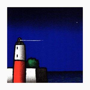 Tino Stefanoni: Leuchtturm in Weiß und Rot, Farbserigrafie