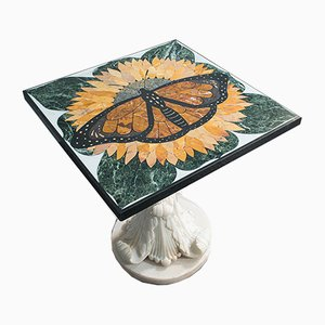 Vintage English Marble Monarch Butterfly Table by Pietra Dura, 2000s
