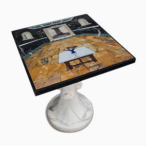 Vintage English Handmade Marble Decorative Cornucopia Table by Pietra Dura, 2000s