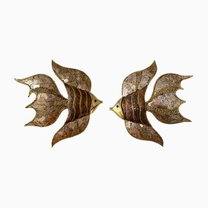 French Brass Fish Sconces by Richard Faure for Maison Honoré, 1980s, Set of 2