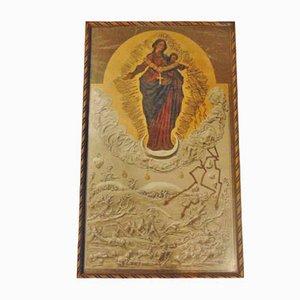Peinture d'Avant-Guerre, Affiche à l'Huile, Mère par Dieu de Hostyń