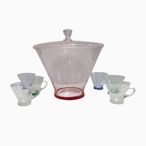 Geometric Glass Bowl Set, 1950s, Set of 7