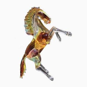 Springendes Pferd aus Murano Glas & Chalcedonholz von Arnaldo Zanella