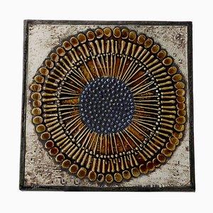 Swedish Ceramic Unik Series Sunflower Wall Plate by Lisa Larson for Gustavsberg, 1961