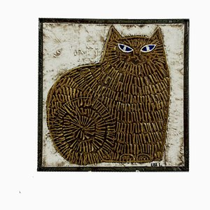 Swedish Ceramic Unik Series Cat Wall Plate by Lisa Larson for Gustavsberg, 1961