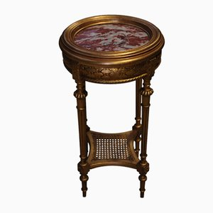 Antique French Empire Carved Giltwood Side Table with Marble Top