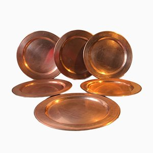 Vintage Danish Copper Plates from Cawa, 1960s, Set of 6