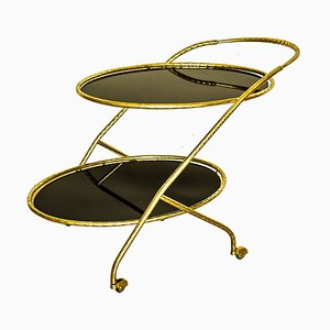 Italian Brass & Black Mirrored Glass 2-Tier Drinks Trolley, 1950s