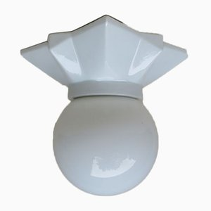 Vintage Art Deco Porcelain & Glass Ball Star Ceiling Lamp