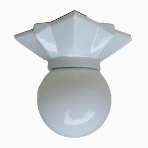Vintage Art Deco Porzellan & Glas Ball Star Deckenlampe