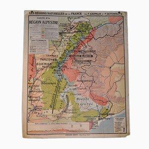 Mapa de dos caras de la región alpina de Francia, años 60