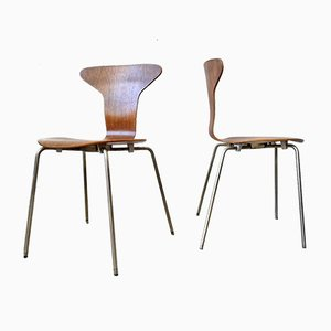 Chaises 3105 Myggen / Mosquito Mid-Century par Arne Jacobsen pour Fritz Hansen, Set de 2