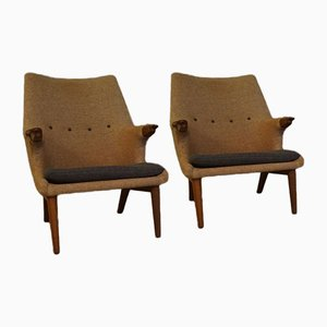 Mid-Century Wingback Easy Chairs by Arne Hovmand-Olsen, Set of 2