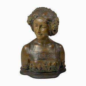 Busto Jeunesse color oro di Ezio Ceccarelli