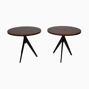 Mid-Century Italian Oval Leather Top Side Tables, Set of 2