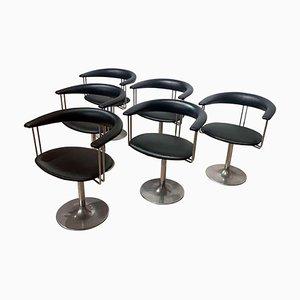 Vintage Drehsessel aus Metall & schwarzem Leder, Niederlande, 1970er, 6er Set