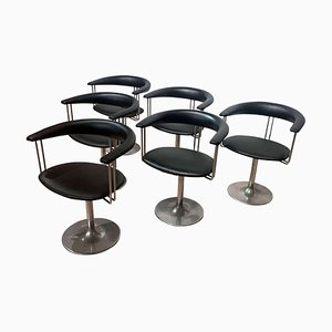 Vintage Swivel Armchairs in Metal and Black Leather, The Netherlands, 1970s, Set of 6