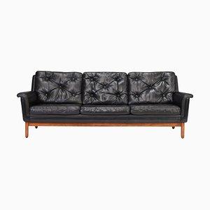 Dänisches Sofa aus Schwarzem Leder, Dänemark, 1950er