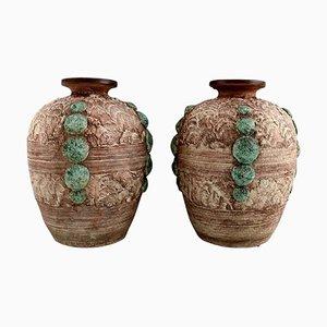 Large Vases in Glazed Ceramics by Louis Dage, Set of 2