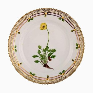 Flora Danica Porcelain Lunch Plate with Hand-Painted Flowers from Royal Copenhagen