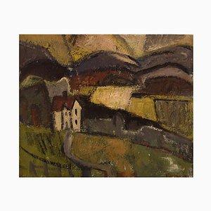 Olby Larsen, Sweden, Oil on Canvas, Abstract Modernist Landscape, 1955