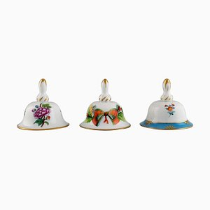 Table Bells in Hand-Painted Porcelain with Flowers from Herend, 1980s, Set of 3