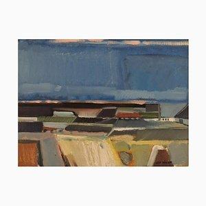 Leif Tingkær, Huile sur Toile, Paysage Moderniste, 1970s