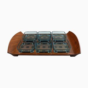 Tray in Teak with 6 Containers in Colored Glass by Jens Harald Quistgaard