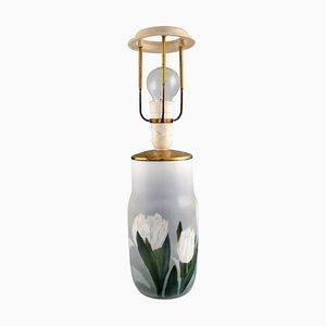 Tischlampe aus handbemaltem Porzellan mit Blumenmustern von Royal Copenhagen, 1920er