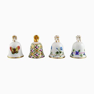 Table Bells in Hand-Painted Porcelain with Flowers from Herend, 1980s, Set of 4