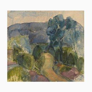 Inger Manne, Svezia, olio su tela, paesaggio modernista, 1973