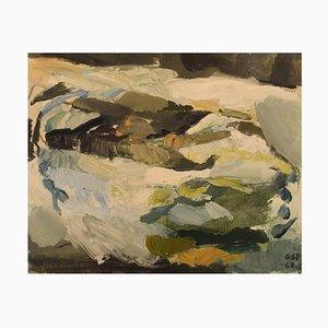 Gösta Asp, Svezia, olio su tela, astratto paesaggio invernale, 1961